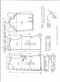 Esquema de modelagem de Camisa Social Feminina tamanho 56.