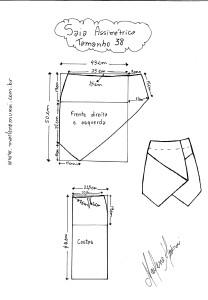 Molde de Saia Assimétrica tamanho 38
