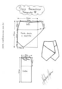 Molde de Saia Assimétrica tamanho 48.