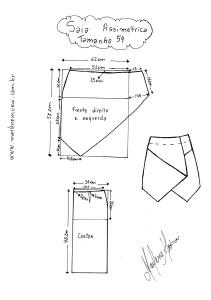 Molde de Saia Assimétrica tamanho 54.