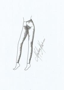 Croqui do modelo de legue de cintura alta.