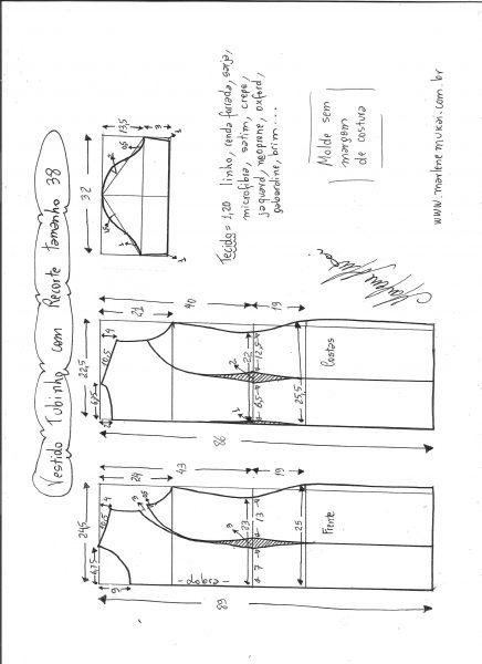 Esquema de modelagem de vestido tubinho com recorte tamanho 38.