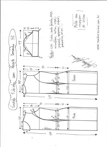 Esquema de modelagem de vestido tubinho com recorte tamanho 52.