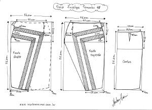 Molde de Saia Envelope com Detalhes tamanho 48.