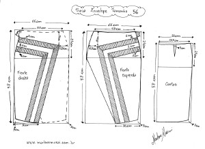 Molde de Saia Envelope com Detalhes tamanho 56.