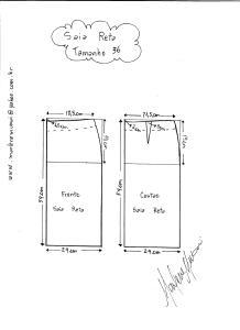 Esquema de modelagem de saia reta tamanho 36.