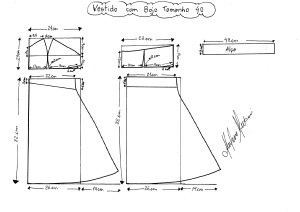 Molde do Vestido com Bojo tamanho 40.