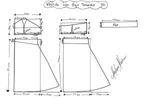 Molde do Vestido com Bojo tamanho 50.