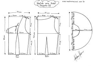 Molde do Vestido de Saia Godê tamanho 52.