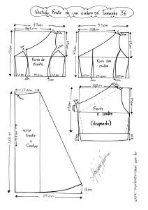 Esquema de Modelagem do Vestido de Festa de Um Ombro Só tamanho 36.