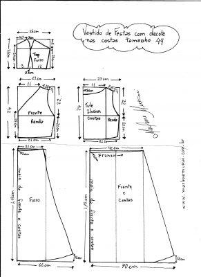 Esquema de modelagem de Vestido com decote nas costas tamanho 44.