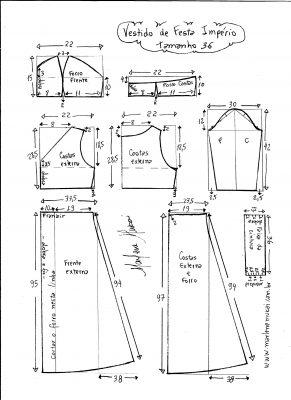 Esquema de modelagem de vestido de festa  império tamanho 36