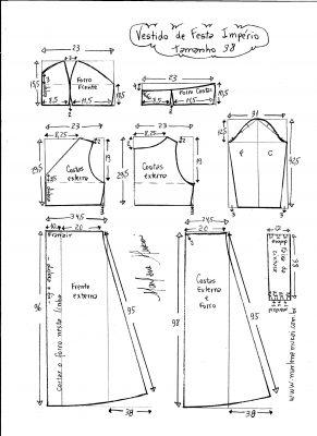 Esquema de modelagem de vestido de festa  império tamanho 38.