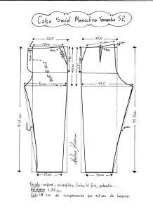 Esquema de modelagem de calça social masculina tamanho 52.