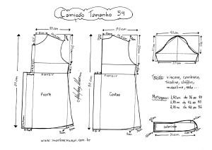 Esquema de modelagem de Camisão tamanho 54.