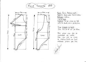 Esquema de modelagem de maiô tamanho PP.