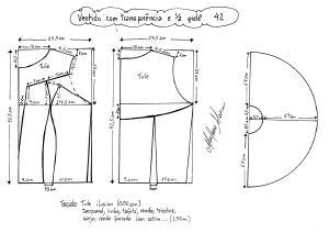 Esquema de modelagem de vestido com transparência godê tamanho 42.