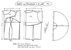 Esquema de modelagem de vestido com transparência godê tamanho 44.