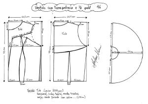 Esquema de modelagem de vestido com transparência godê tamanho 46.