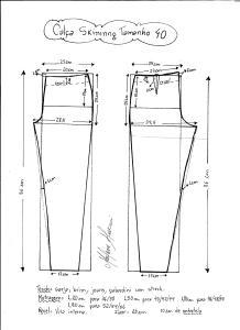 Esquema de modelagem de calça skinny tamanho 40.