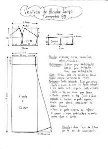 Esquema de Modelagem do Vestido de Alcinha tamanho 40.