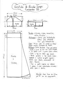 Esquema de Modelagem do Vestido de Alcinha tamanho 50.