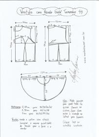 Esquema de modelagem de vestido com renda godê tamanho 44.