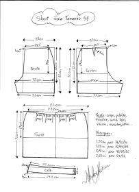 Esquema de modelagem de short saia tamanho 44.