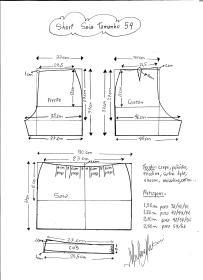 Esquema de modelagem de short saia tamanho 54.