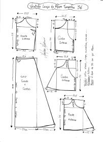 Esquema de modelagem de Vestido Longo com alça e babado tamanho 36.