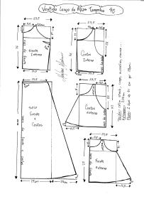 Esquema de modelagem de Vestido Longo com alça e babado tamanho 40.