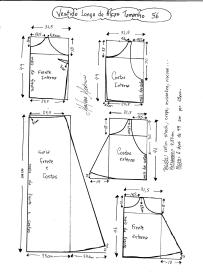 Esquema de modelagem de Vestido Longo com alça e babado tamanho 56.