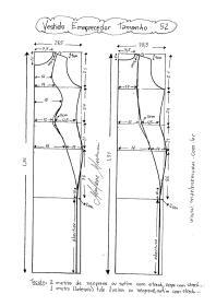 Esquema de Modelagem de Vestido que afina a Silhueta 2 tamanho  52.