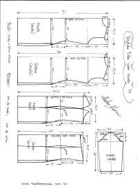 Esquema de modelagem de Vestido Tubinho com Renda e manga 3/4 tamanho 54.