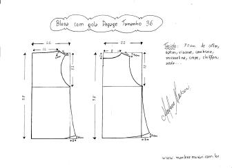 Esquema de modelagem de Blusa com gola Degagê tamanho 36.