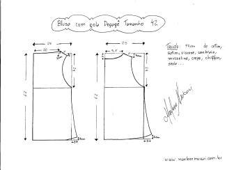 Esquema de modelagem de Blusa com gola Degagê tamanho 42.