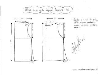 Esquema de modelagem de Blusa com gola Degagê tamanho 56.