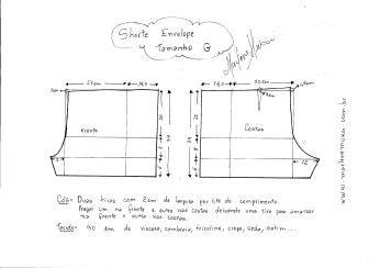 Esquema de modelagem de short envelope tamanho G.
