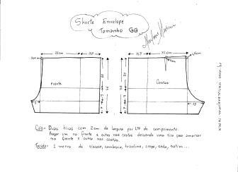 Esquema de modelagem de short envelope tamanho GG.