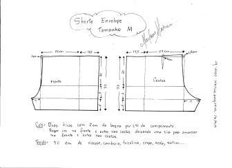 Esquema de modelagem de short envelope tamanho M.