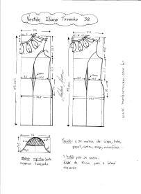 Esquema de Modelagem de Vestido Eliana tamanho 38.
