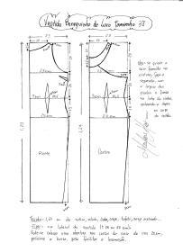 Esquema de modelagem do Vestido Bonequinha de Luxo tamanho 38.