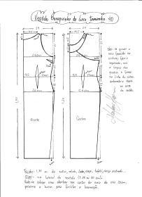Esquema de modelagem do Vestido Bonequinha de Luxo tamanho 40.