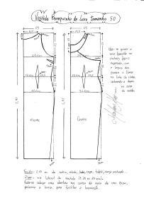 Esquema de modelagem do Vestido Bonequinha de Luxo tamanho 50.