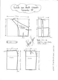 Esquema de modelagem de Vestido com decote Cruzado tamanho 48.