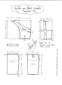 Esquema de modelagem de Vestido com decote Cruzado tamanho 52.