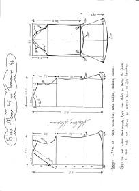 Esquema de modelagem de Blusa com Manga Sino tamanho 46.