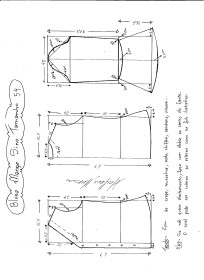 Esquema de modelagem de Blusa com Manga Sino tamanho 54.