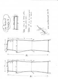 Esquema de modelagem de calça Bailarina tamanho G.