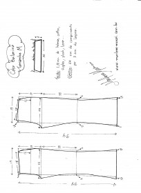 Esquema de modelagem de calça Bailarina tamanho M.